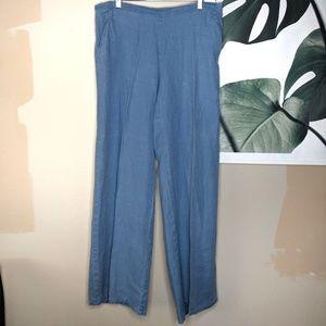 Flax Linen Wide Leg Pants Blue